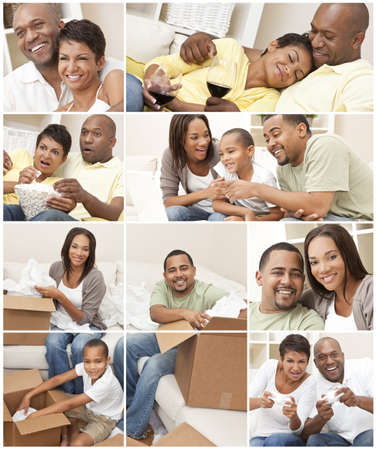 Attractive African American family and couple mother, father, son, man and woman at home having fun relaxing, eating, sitting, smiling, drinking wine, unpacking or packing boxes photo