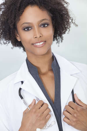 An African American female medical doctor with a stethoscope in hospital Stock Photo - 15784332