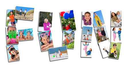 Young children playing laughing and having fun in summer and winter  Running, swimming, cycling, jumping and being active, the montage spells the word FUN