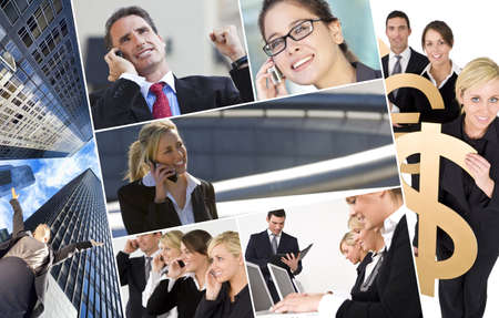Group of business men   women, businessmen and businesswomen team on mobile or cell phones and holding money signs, business concept   photo