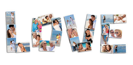 A love concept montage of attractive, happy smiling people couples together romantic on the beach, relaxing at home, embracing, holding hands in love Stock Photo