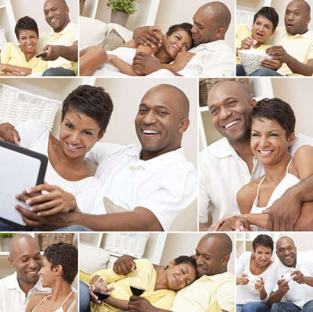 A happy African American man and woman couple in their thirties sitting at home, relaxing, drinking wine, playing video games and watching television photo