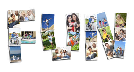 Active people men women and children playing laughing and having fun in summer and winter. Running, swimming, cycling, jumping and being active, the montage spells the word FUN photo