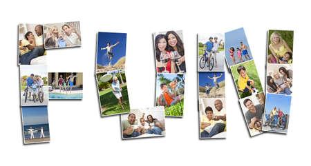 Activos gente hombres mujeres y ni�os que juegan re�r y divertirse en verano como en invierno. Correr, nadar, andar en bicicleta, saltar y estar activo, el montaje deletrea la palabra DIVERSI�N