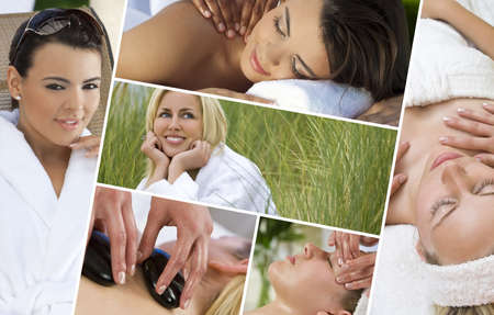 Montage of young beautiful women blond and hispanic relaxing at a health spa having massage and hot stone treatments Stock Photo - 16299849