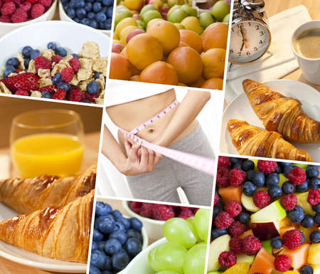 Montage of woman measuring waist   macro photographs of fresh food, and a female healthy diet lifestyle Stock Photo - 16299852