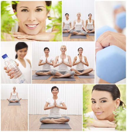 multi racial group: Healthy lifestyle montage of beautiful women, relaxing, working out, practising yoga at a health spa