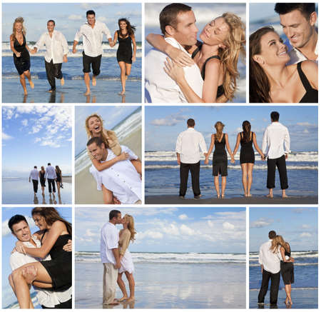 Four young people, two couples, holding hands, having fun and relaxing on a beach together in the summer sunshine in love photo