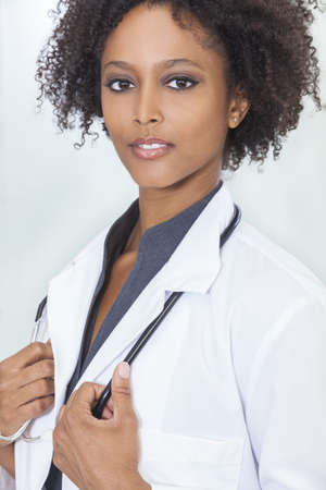 An African American female medical doctor with a stethoscope in hospital Stock Photo - 16299851
