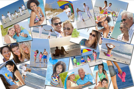 Montage of people happy men women and children families and couples having fun on a summer holiday vacation at the beach, swimming walking and relaxing photo
