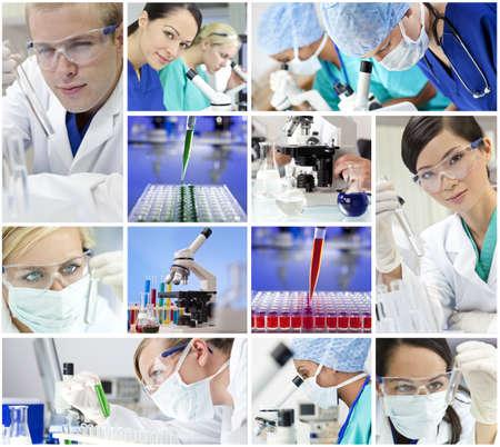 laboratorio clinico: Montaje de un equipo de hombres médicos o científicos de investigación y mujeres que utilizan microscopios y mirando a los tubos de ensayo en un laboratorio Foto de archivo
