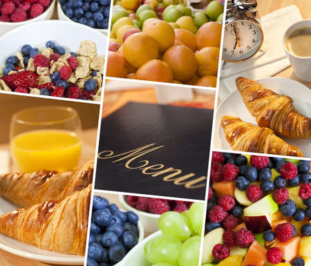 Montage of menu macro shots of fresh food, fruit and breakfast, a healthy diet lifestyle Stock Photo - 16710352