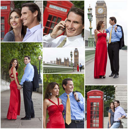 Montage of romantic man and woman couple on vacation seeing the sights and landmarks in London, England, Great Britain photo