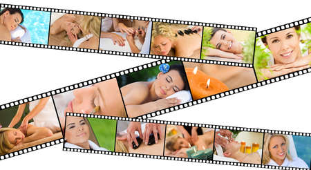 sensual massage: Film strip concept of young beautiful women relaxing at a health spa whilst having massages, hot stone treatments and manicures Stock Photo