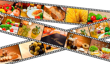 A film strip montage macro photographs of fresh gourmet food and a menu with pasta bread salad olives cheese ham melon spaghetti vegetables oil &amp, Balsamic vinegar photo