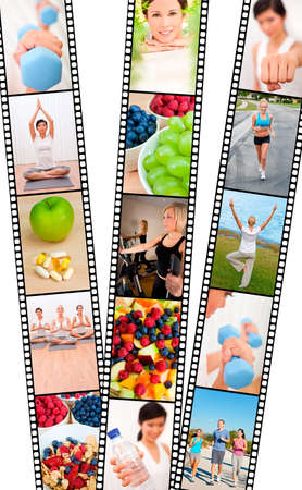 Film strip montage of fresh fruit, healthy food & water & women and men, healthy lifestyle sport exercising, yoga, working out with weights, cross trainer and running  photo