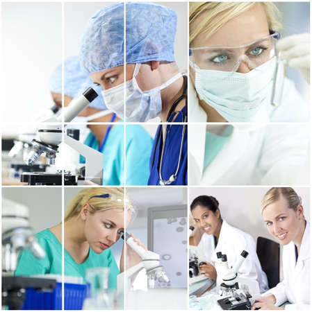 clinical research: A team of female medical research scientists young women in a science laboratory, with microscopes and test tubes wearing surgical masks and a stethoscope Stock Photo