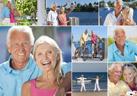 Happy retirement senior man and woman couple on an active romantic vacation together cycling and at the beach in summer sunshine Stock Photo - 17758209