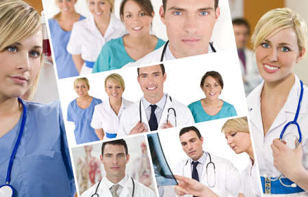 consultant physicians: Montage of a medical team men and women a male doctor and his colleagues female nurses working in a hospital together, looking at an x-ray and blood sample