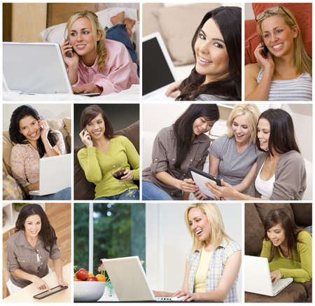 PHONE LINE: Technology communication concept montage of women at home sitting on sofas, settees, beds or in kitchen using laptop or tablet computers and cell or mobile phones smiling happy & relaxed.  Stock Photo