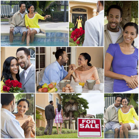 A happy African American man and woman couple lifestyle montage swimming pool, buying a house, eating breakfast, valentines day flowers romantic moments and vacations outside photo