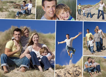 Montage of a happy family of mother, father and two sons, walking holding hands and having fun in the sand dunes of a sunny beach photo