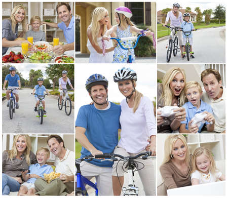 Montage of a happy active young family, parents man and woman, two children a boy and girl relaxing at home, eating healthy food, playing video games and cycling. photo