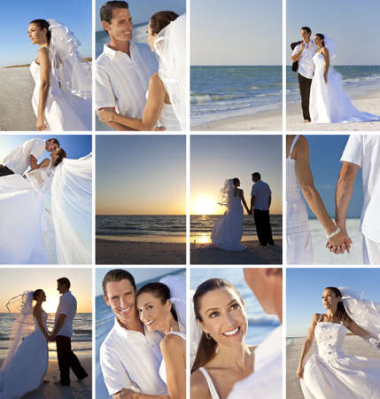 pareja de esposos: Montaje de un feliz y sonriente pareja casada en su d�a de la boda o luna de miel en una playa desierta celebrar y abrazar el sol de verano y la puesta del sol