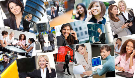 Montage of beautiful successful businesswomen or woman working in the city in business meetings using cell phones, tablet computers & laptop computers. photo