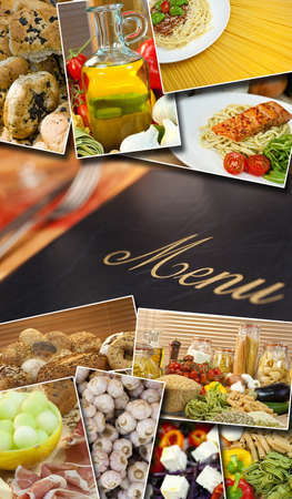 Montage of a menu and healthy Mediterranean style foods, breads, salmon, spaghetti, peppers, tomatoes, vegetables, garlic, ham, olive oil, melon and cheese. Stock Photo - 19337123