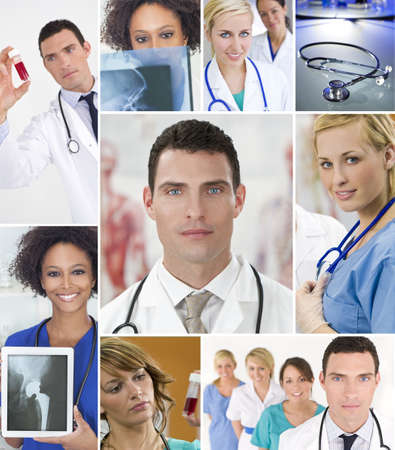 Montage of an interracial successful medical team of nurses and dotors, men and women in a hospital looking at patients X-rays and blood samples photo