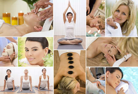 Montage of young beautiful women relaxing, having massage treatments and exercising at a health and beauty spa photo