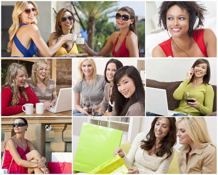 Montage of happy beautiful women, friends, shopping, using laptop computers, listening to music and talking on the phone, enjoying a modern lifestyle  photo