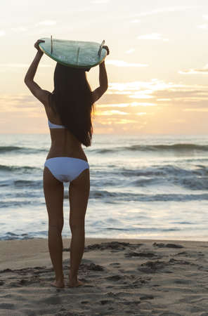 Rear view of beautiful sexy young woman surfer girl in bikini with white surfboard on her head on a beach at sunset or sunrise