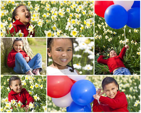 Montage of a young happy mixed race African American girl child having fun and playing in a field full of flowers in the summer sunshine, laughing and holding balloons.  photo