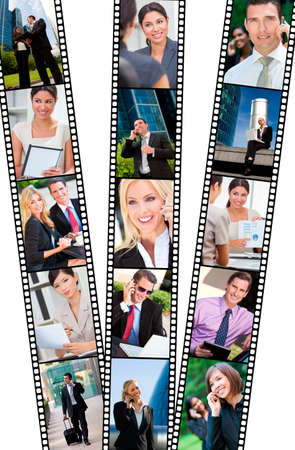 Filmstrip style montage of successful business men and women using mobile cell phone, laptop & tablet computers, in modern city doing business deals in meetings and using wireless technology photo