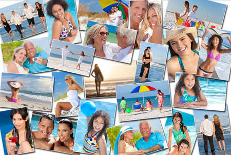 Photo montage of people happy men women children families and couples, young senior and elderly having fun on summer holiday vacations at the beach, swimming walking, surfing and relaxing photo