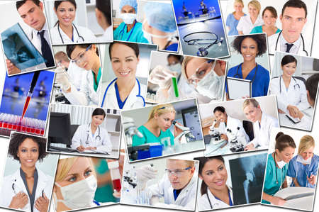 A photo montage of interracial medical workers people, men, women, doctors, nurses & teams in hospital and laboratories conducting research, analysing samples and x-rays photo