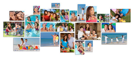 children smiling: Montage of happy family parents and two children boy and girl enjoying an active lifestyle on holiday vacation, at the beach, playing in the swimming pool and cooking at home Stock Photo