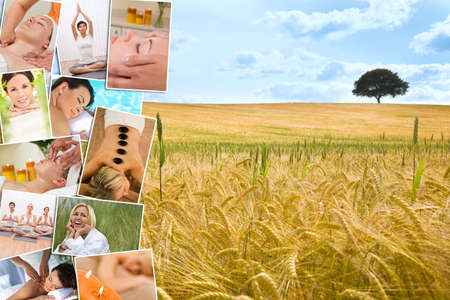 Montage of beautiful interracial women, woman relaxing at a health spa, enjoying head and back massages, hot stone treatments and practicing yoga in a gym, with a natural field and tree background   photo