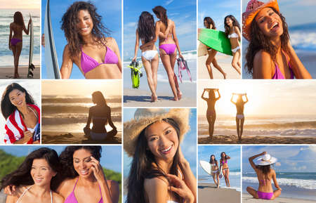 Montage of beautiful women girls at the beach surfing, surfers on vacation enjoying waves and sunrise or sunset, holding their surfboards in the summer sun photo