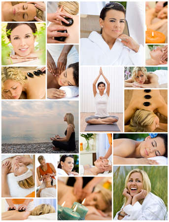 beach mat: Montage of beautiful interracial women, woman relaxing at a health spa, enjoying head and back massages, hot stone treatments and practicing yoga on the beach and in a gym. Stock Photo