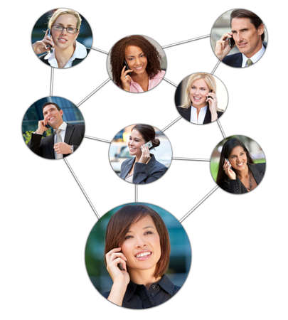 Montage of interracial successful business men and women using mobile cell phones, phone social network and team communication