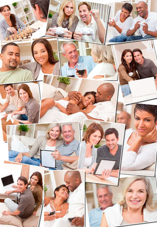 Montage of happy interracial couples enjoying a relaxing lifestyle at home, drinking wine, using tablet and laptop computers, unpacking boxes and playing video and board games. photo