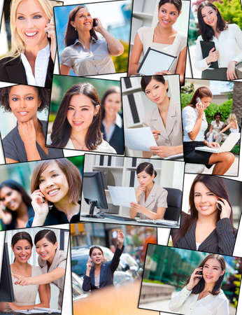 Photo montage of successful interracial mixed race business women, businesswoman using mobile cell phones, laptop and tablet computers, working in the city and in the office photo