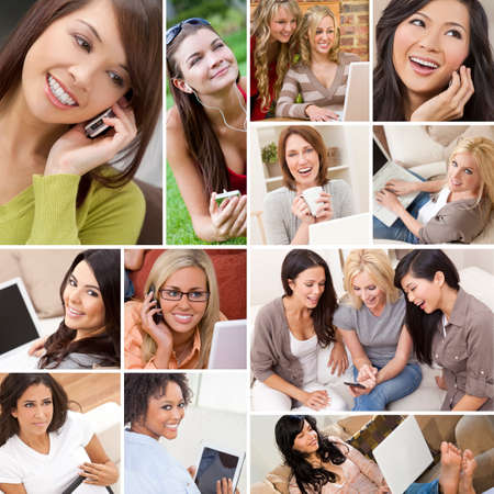 Montage of happy beautiful women, friends, using laptop and tablet computers, listening to music and talking on the phone, enjoying a modern lifestyle. photo
