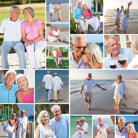 Montage of happy old senior man woman couples people enjoying an active retirement lifestyle on the beach, walking by a river or lake, drinking wine and cycling  photo