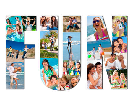 Active people men, women children and couples playing laughing and having fun in summer. Swimming, cycling, jumping, playing games, shopping and being active, the montage spells the word FUN Stockfoto
