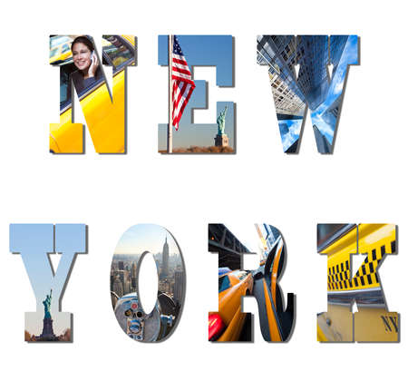catching taxi: Word montage spelling New York, The Statue of Liberty and a busy successful businesswoman working in the city on her mobile phone catching yellow taxi cab Stock Photo