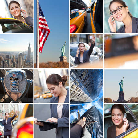 Montage of New York City, The Statue of Liberty and a busy, successful businesswoman working in the city on her mobile phone and tablet computer, catching yellow taxi cabs. photo